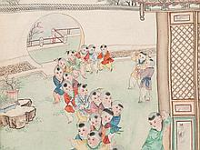 Scroll Painting, Silk Painting, Boys in the Garden, China 20thC