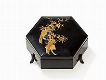 Takamaki-e Lacquer Box with Bamboo Decoration, Japan, Meiji