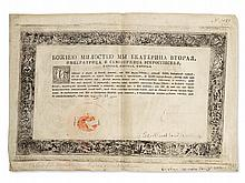 Catherine II, Autograph Signed Letters Patent, 1772