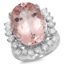 14K Gold 12.50ct Morganite & 1.50ct Diamond Ring