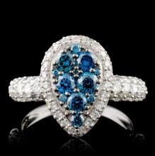 14K White Gold 1.59ctw Fancy Color Diamond Ring