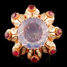 14K Gold 13.99ct Amethyst & 1.22ctw Diamond Ring