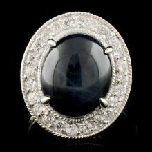14K Gold 11.68ct Sapphire & 0.75ctw Diamond Ring