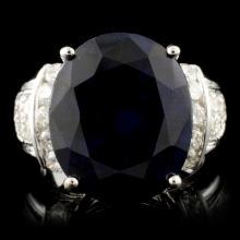 14K Gold 13.50ct Sapphire & 0.75ctw Diamond Ring