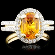 14K Gold 1.88ct Sapphire & 0.46ctw Diamond Ring