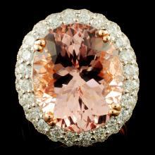14K Gold 12.26ct Morganite & 1.40ctw Diamond Ring