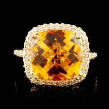 14K Gold 8.40ct Citrine & 1.46ctw Diamond Ring
