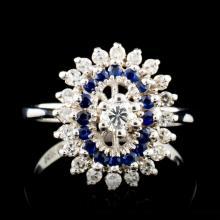 14K Gold 0.45ct Sapphire & 0.38ctw Diamond Ring