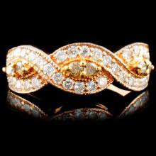 14K Gold 0.76ctw Fancy Color Diamond Ring