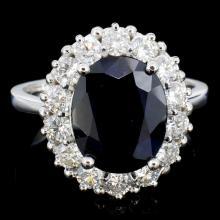 14K Gold 5.00ct Sapphire & 1.20ctw Diamond Ring