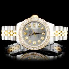 Rolex YG/SS DateJust Ladies Diamond Wristwatch