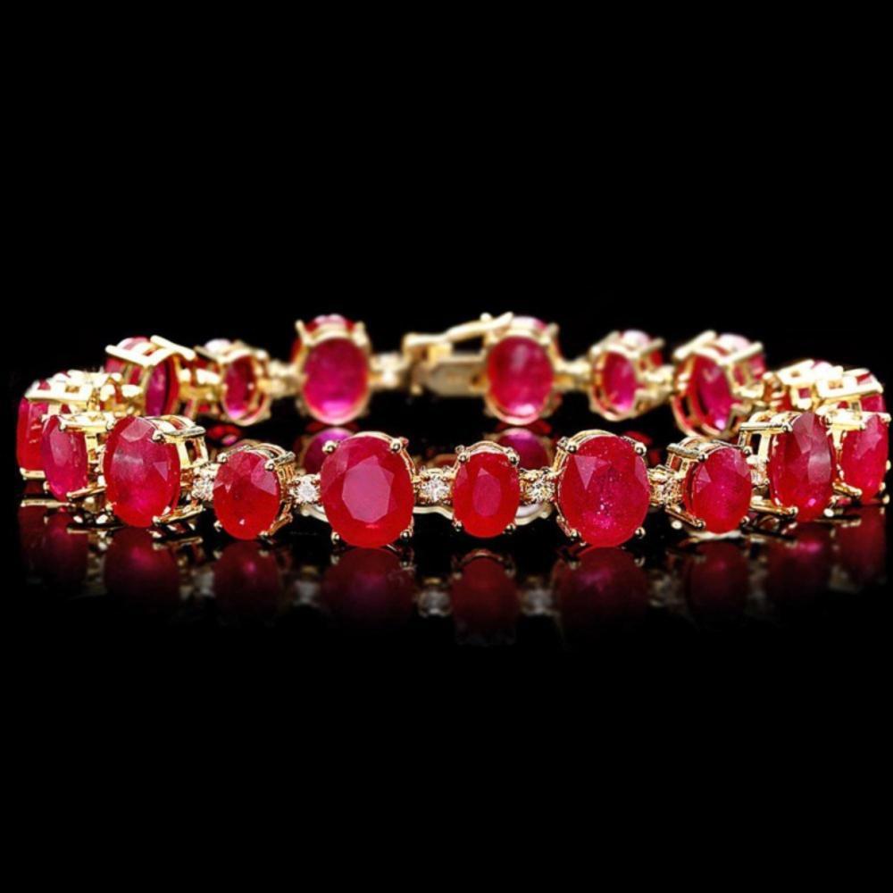 `14k Gold 50.00ct Ruby & 1.50ct Diamond Bracelet