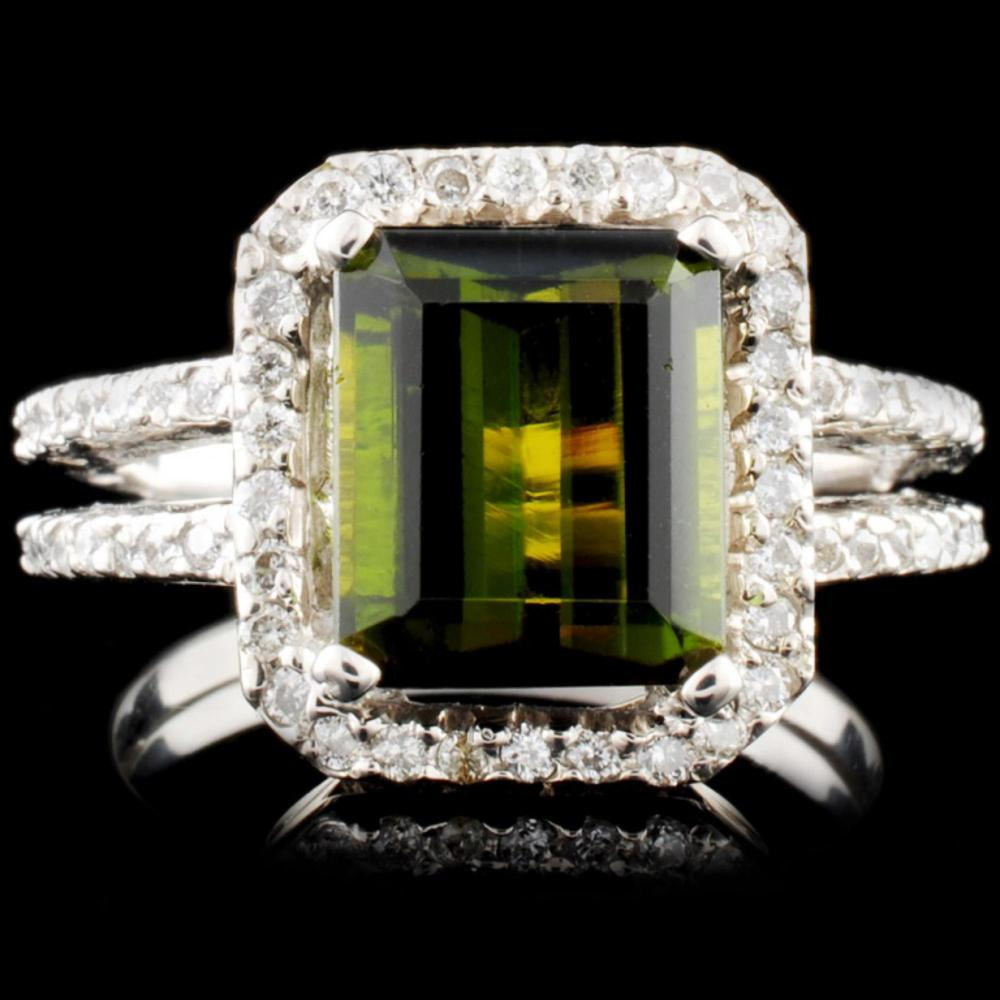 14K Gold 3.41ct Tourmaline & 0.55ctw Diamond Ring