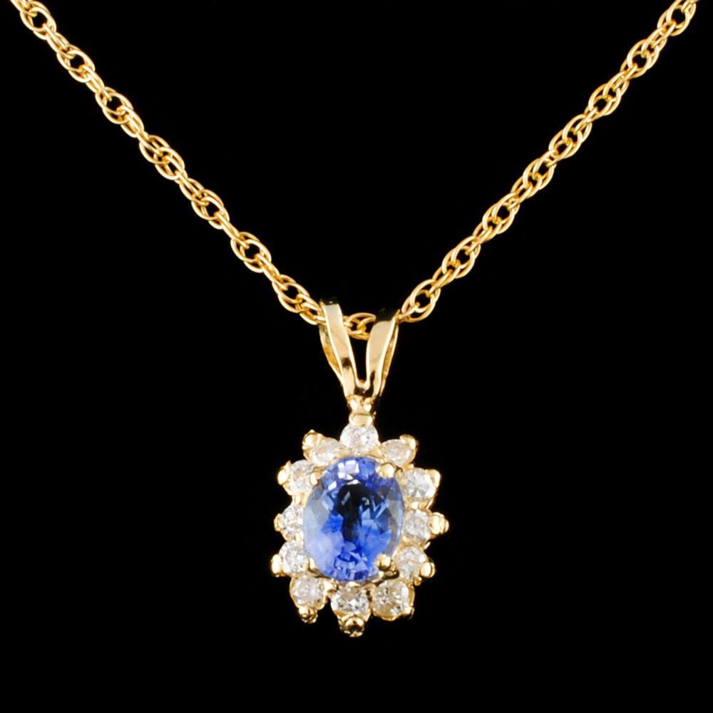 14K Gold 0.45ct Sapphire & 0.18ctw Diamond Pendant