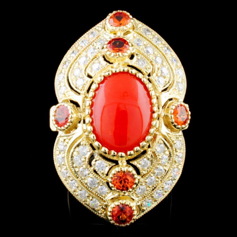 14K Gold 3.02ct Coral & 1.35ctw Diamond Ring