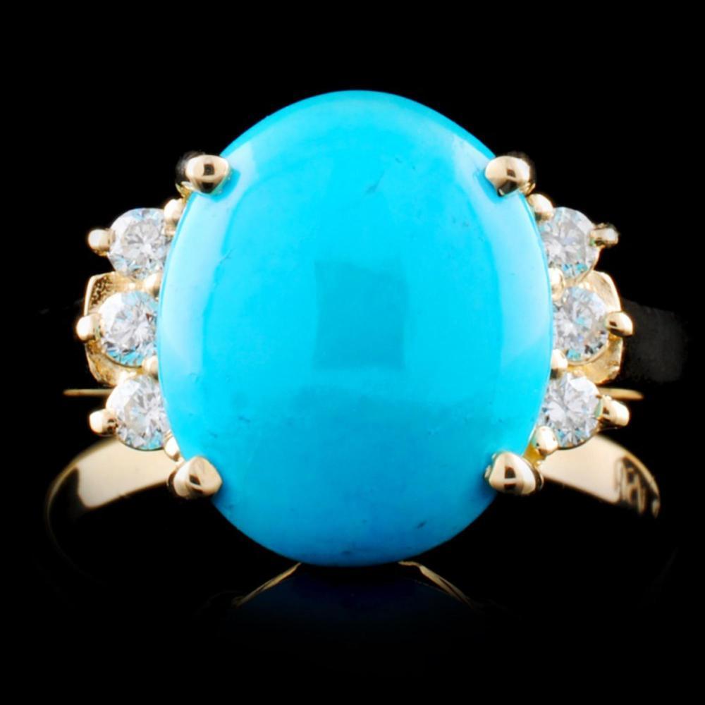 14K Gold 2.94ct Turquoise & 0.06ctw Diamond Ring