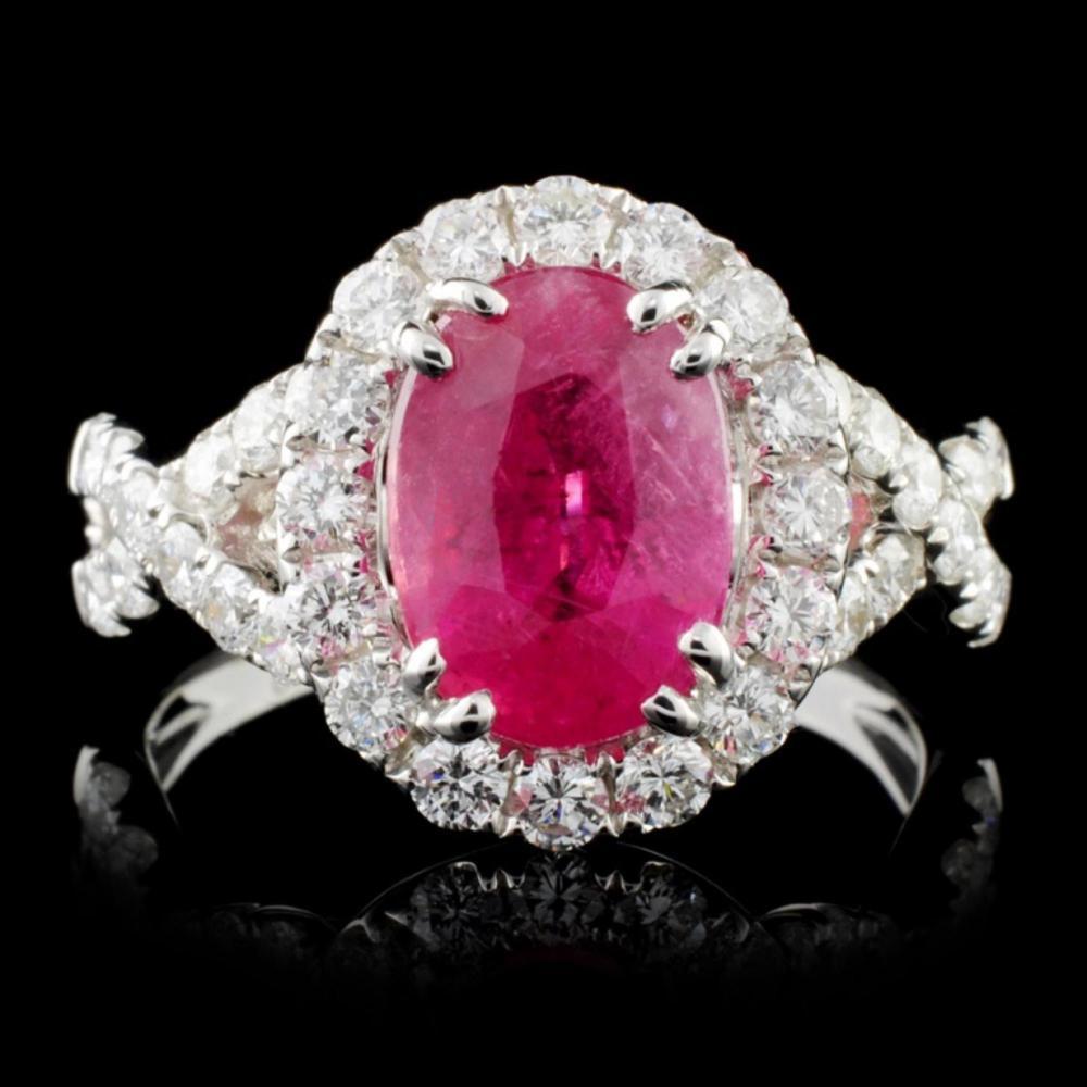 18K White Gold 2.81ct Ruby & 1.00ct Diamond Ring