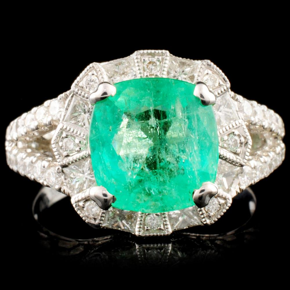 18K Gold 2.26ct Emerald & 1.07ctw Diamond Ring