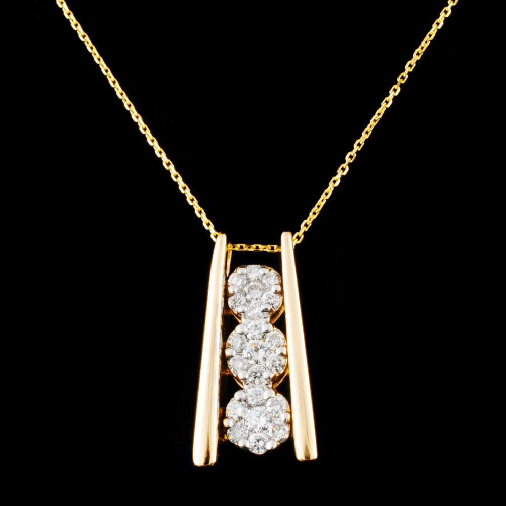 14K Gold 0.63ctw Diamond Pendant