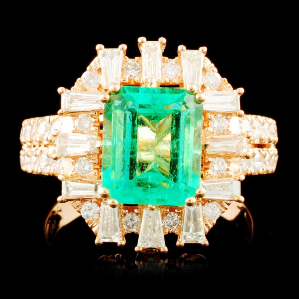 18K Gold 2.26ct Emerald & 1.11ctw Diamond Ring
