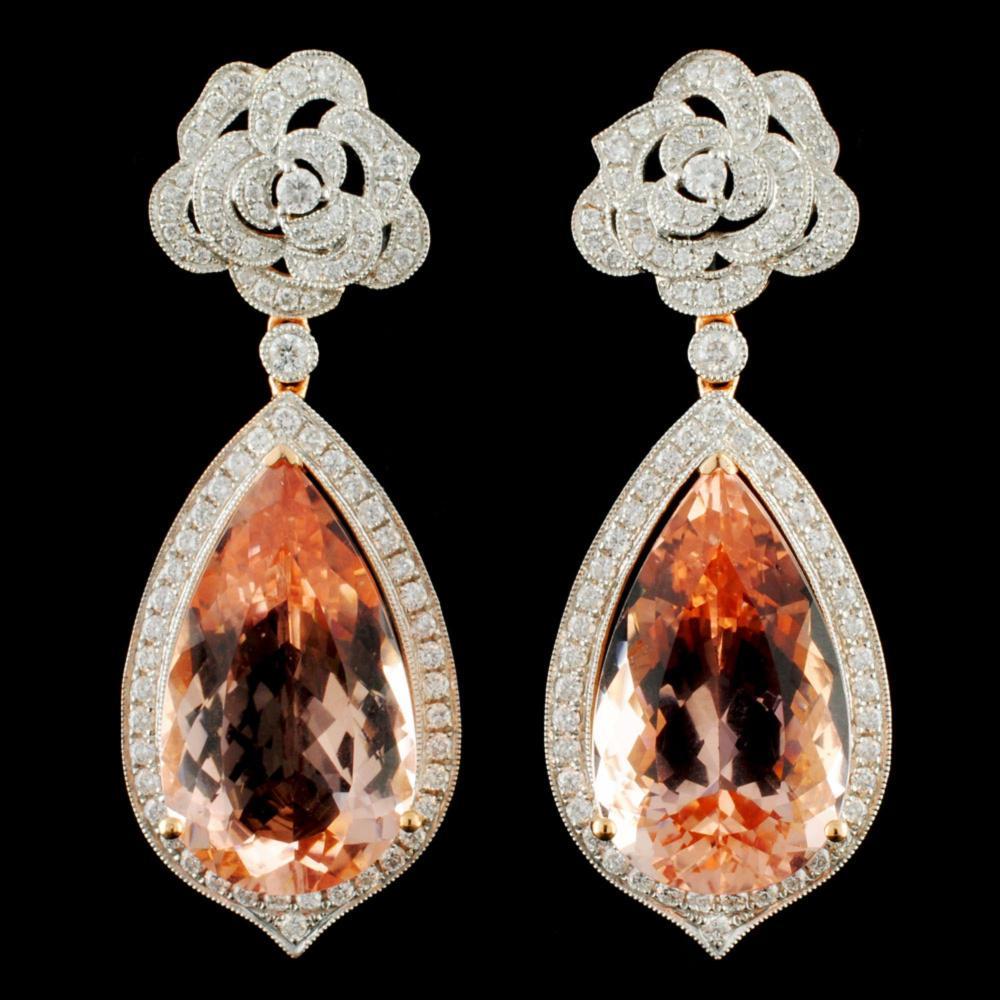 18K Gold 16.88ctw Morganite & 1.30ctw Diamond Earr