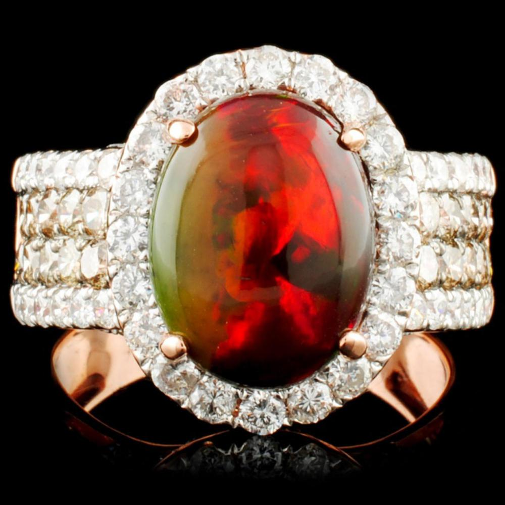 14K Gold 2.27ct Opal & 0.61ctw Diamond Ring