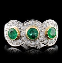 14K White Gold 0.73ct Emerald & 0.67ct Diamond Rin