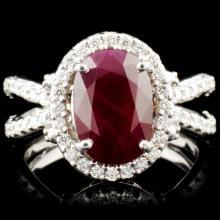 14K Gold 3.53ct Ruby & 0.90ctw Diamond Ring