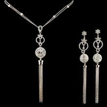 14K Gold 2.89ctw Diamond Necklace & Earrings