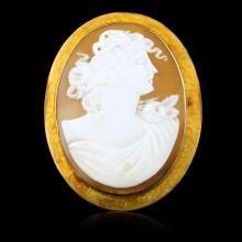 10k Yellow Gold Larhe Cameo Bust Brooch Pendant