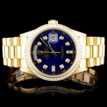 Rolex 18K YG Day-Date 1.50ct Diamond Men's Watch