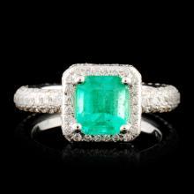 18K Gold 1.10ct Emerald & 1.24ctw Diamond Ring