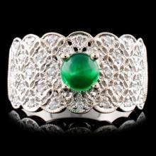 18K Gold 0.63ct Emerald & 0.16ctw Diamond Ring