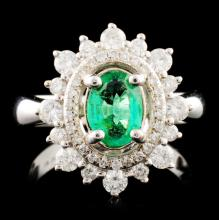 14K Gold 0.69ct Emerald & 0.66ctw Diamond Ring