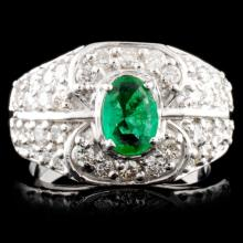 14K Gold 0.67ct Emerald & 0.92ctw Diamond Ring