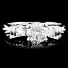 Solid Platinum 0.72ctw Diamond Ring