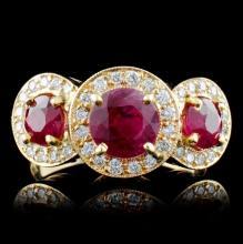 14K Yellow Gold 1.85ct Ruby & 0.63ct Diamond Ring