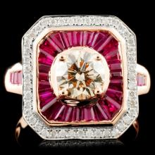 14K Gold 1.40ct Ruby & 1.00ctw Diamond Ring
