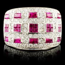 18K Gold 2.31ct Ruby & 0.99ctw Diamond Ring