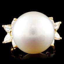 18K Gold 16.00MM Pearl & 1.24ctw Diamond Ring