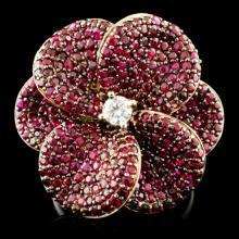14K Gold 3.98cw Ruby & 0.18ctw Diamond Ring