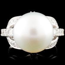 14K Gold 13.00mm Pearl & 1.00ctw Diamond Ring
