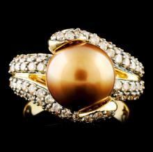 14K Gold 10.50MM Pearl & 1.68ctw Diamond Ring
