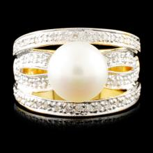 18K Gold 9.00MM Pearl & 0.26ctw Diamond Ring