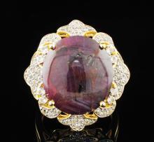 Genuine Star Ruby & White Sapphire Sterling Silver Ring 24.89 CTW Gemstones