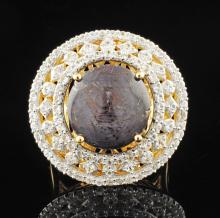 Round Cut Dark Star Ruby 15.44ctw & Sapphire 2.07ctw Silver Ring