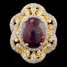 Genuine Star Ruby Ring Sterling Silver & White Sapphires 17.15CTW Gemstones