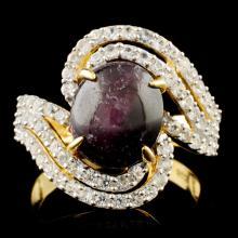 Genuine Star Ruby Ring Sterling Silver & White Sapphires 7.71 CTW Gemstones