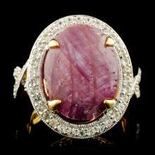 Genuine Star Ruby Ring Sterling Silver & White Sapphires 17.84 CTW Gemstones