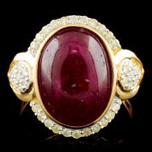Genuine Ruby Ring Sterling Silver & Diamonds 6.73 CTW Gemstones